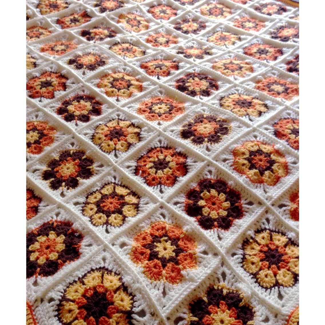70s style decor granny square blanket made from 6 petal crochet ...