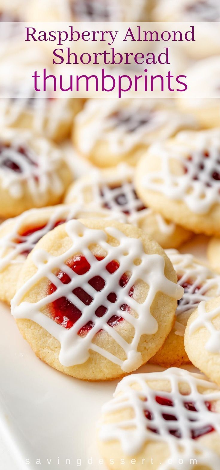 Raspberry Almond Shortbread Thumbprint Cookies - Saving Room for Dessert