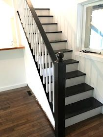 How to Paint a Staircase Black & White - Before and After Staircase