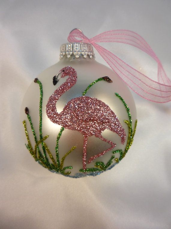 unique hand crafted pink flamingo bird on by glitterornaments on etsy glitter ornaments diy christmas
