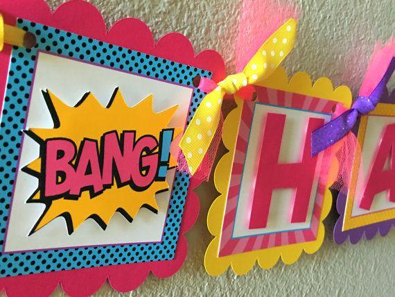 Girl Superhero Birthday Party Banner by sweetheartpartyshop