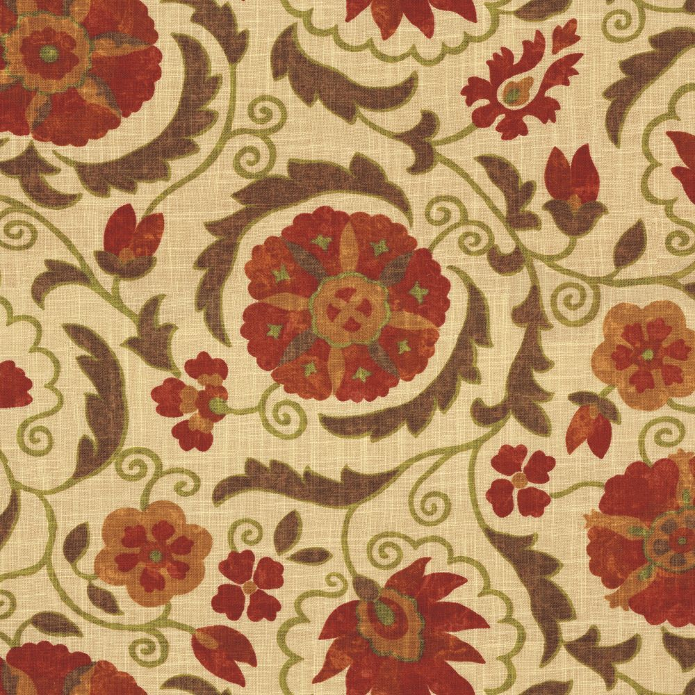 Red & Beige Suzani Washed Linen Fabric 18in