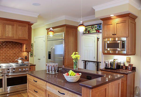 Shaker Kitchen Stainless Steel Appliances Custom Wood Hood Custom Tile Backsplash Shak Traditional Kitchen Remodel Cherry Wood Kitchens Traditional Kitchen