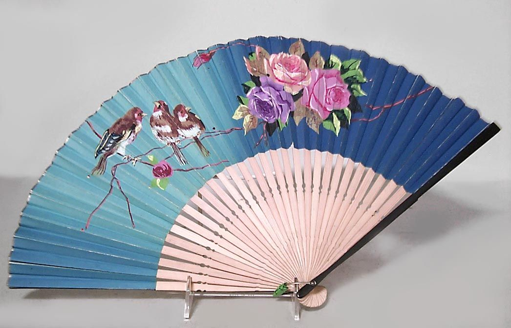 American Victorian style (20th Cent) ebonized hand fan with blue floral and bird scene on paper