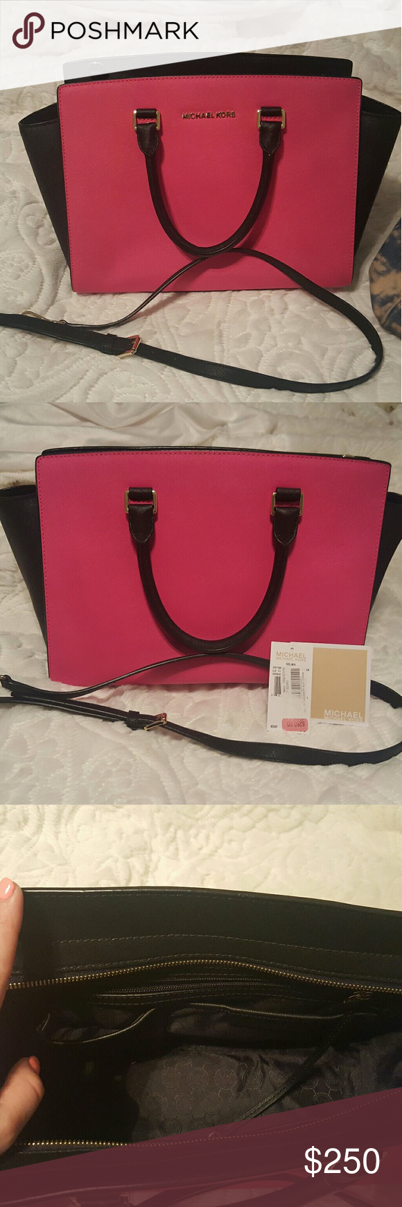 Authentic Michael Kors LARGE Selma handbag Brand new with strap, hot pink and black color block MK selma MICHAEL Michael Kors Bags Satchels