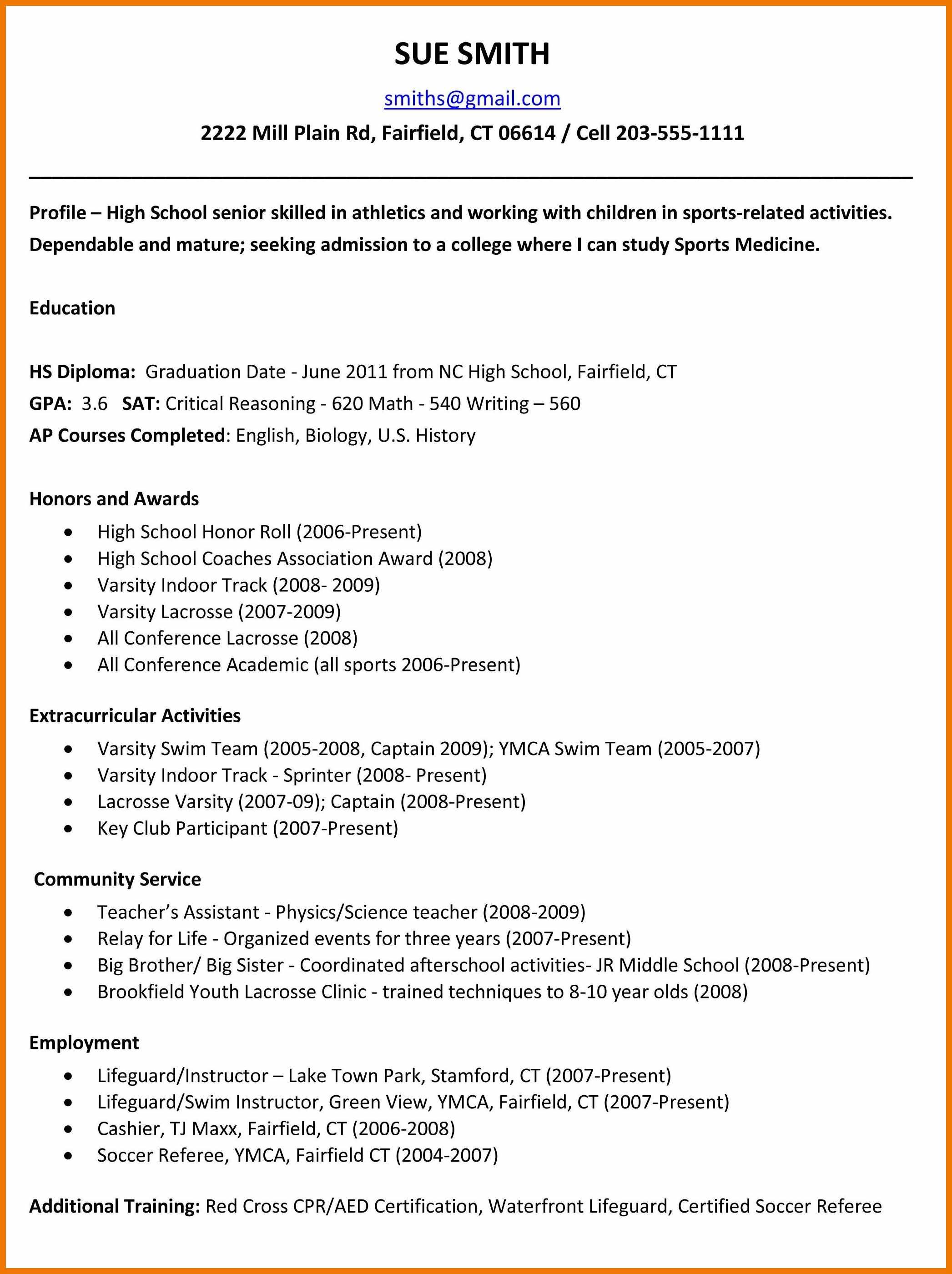 High School Senior College Resume Examples High School Senior