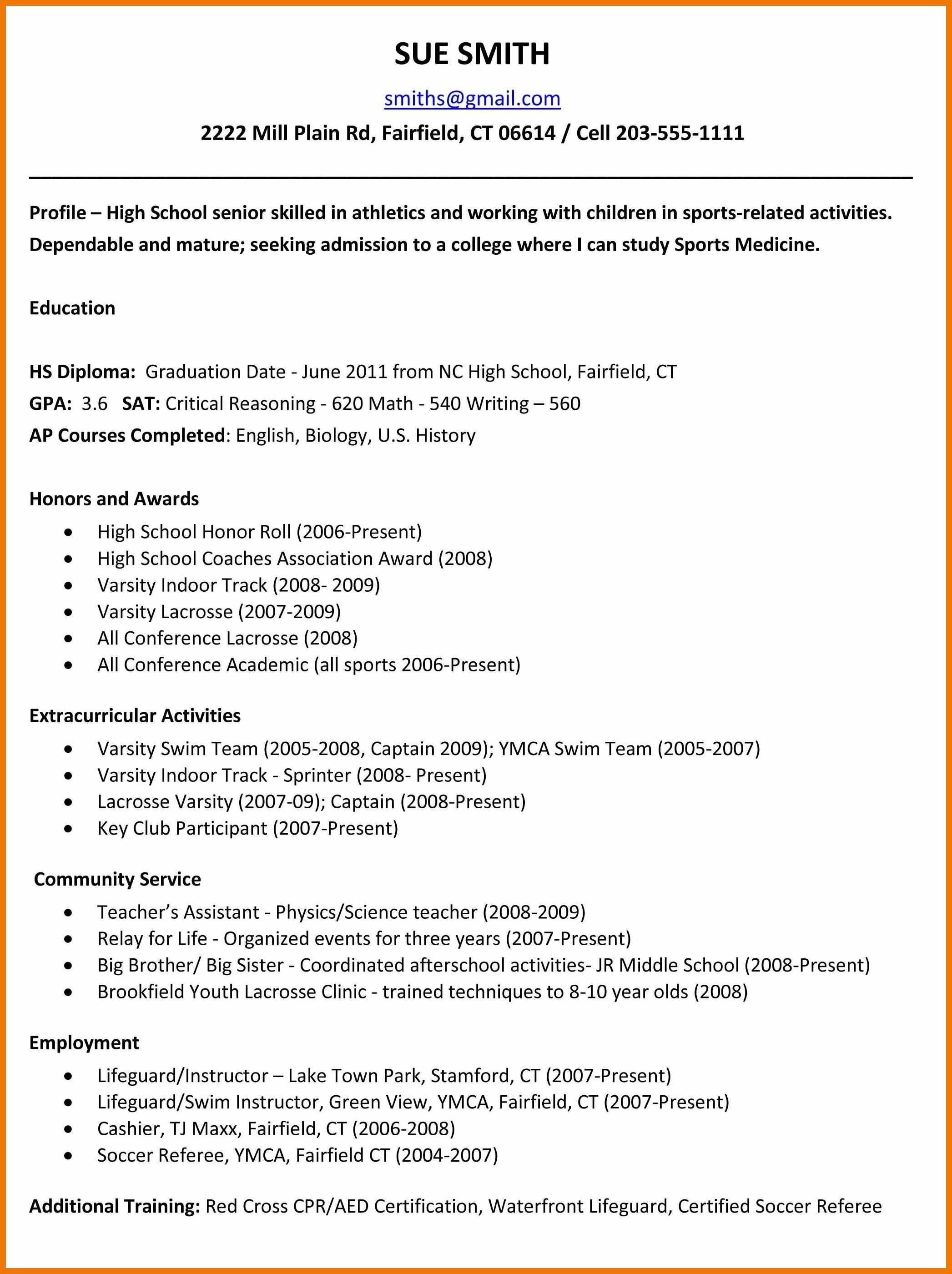 high school senior college resume examples  high school