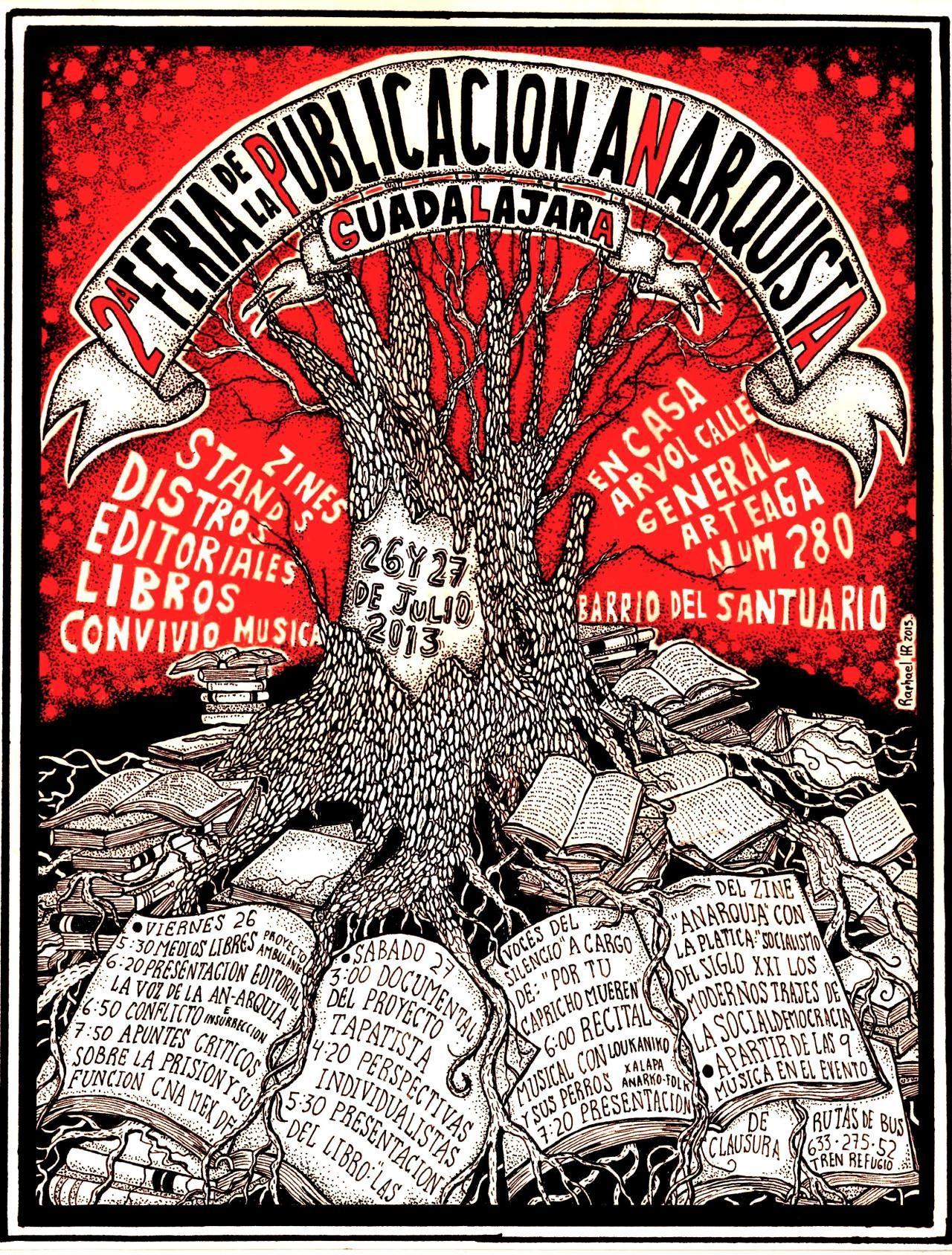 Cartel hecho para la segunda feria del Libro Anarquista de Guadalajara