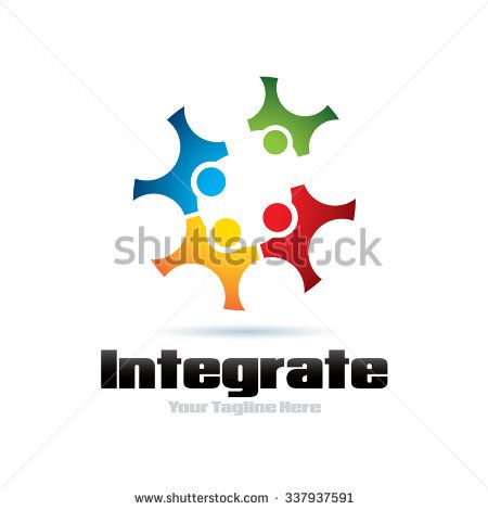 Integrate People Icon Logo Elements - stock vector