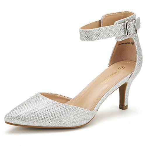 fcbd00eb443 DREAM PAIRS LOWPOINTED NEW Women s Evening Dress Low Heel Ankle Strap  D orsay Pointed Toe Wedding Pumps Shoes Silver Glitter Size 11.