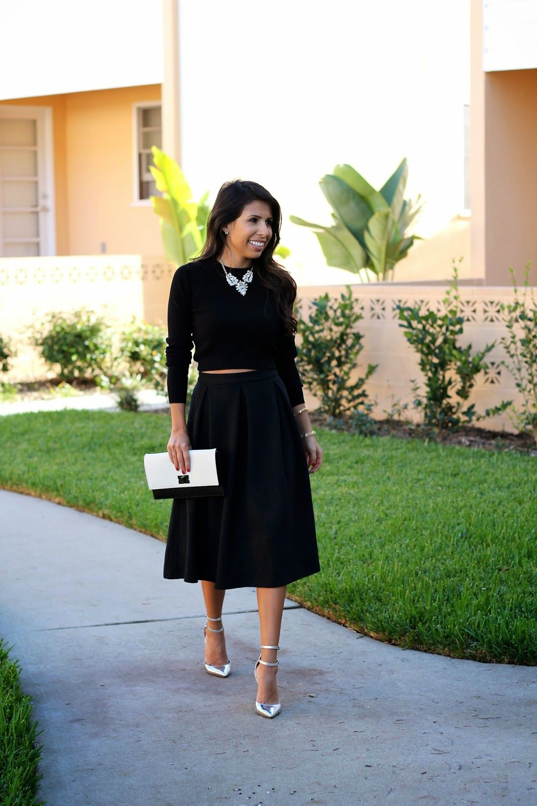 black midi skirt how to wear a crop top