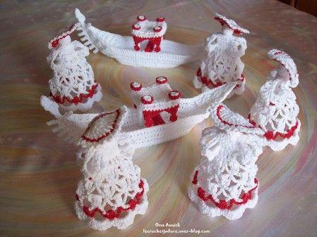 Demoiselles gondoles decoration table mariage crochet extra pins crochet decoration table - Decoration au crochet ...