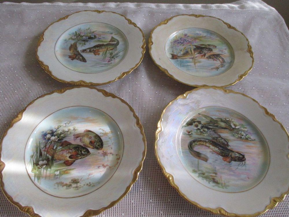 Antique Set 4 Warwick China Fish 8\