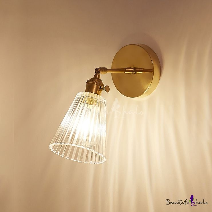 Ribbed Glass Tapered Wall Lamp Retro Style Rotatable Small 1 Light Wall Lighting In Brass For Bedside