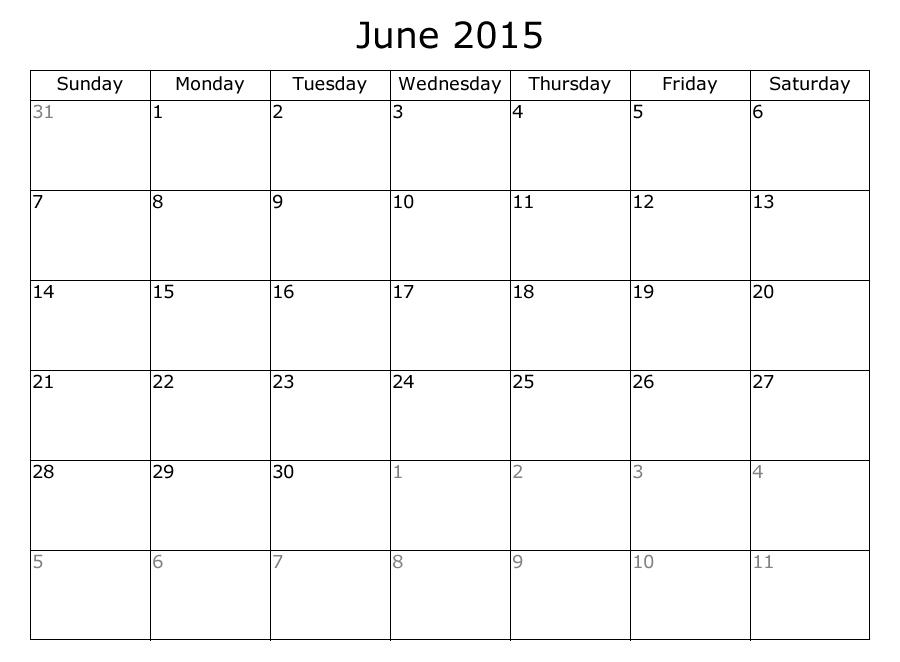 Get Free Blank June 2015 Calendar Printable Template Word Excel