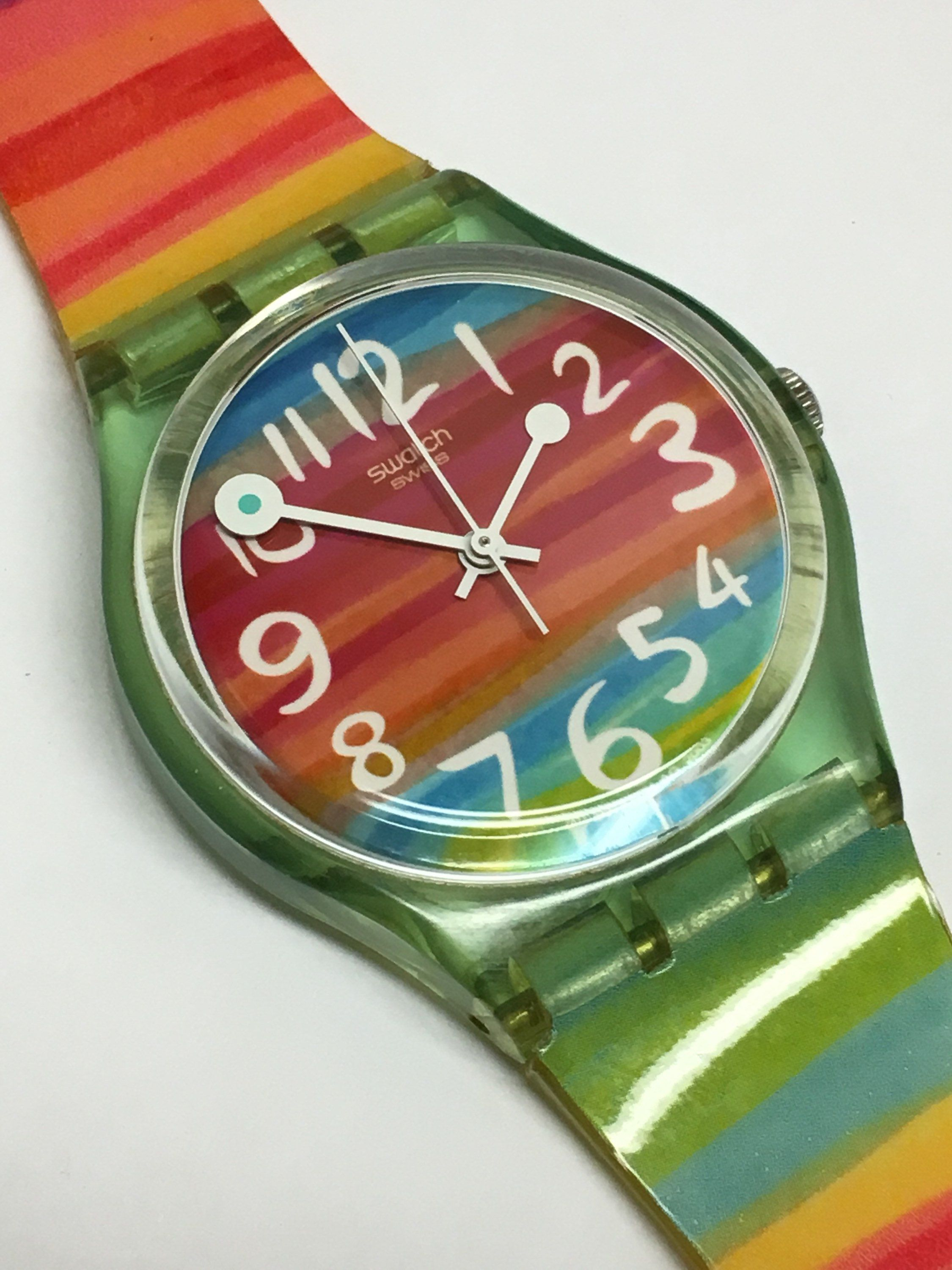 Rainbow Swatch The Clear Color Sky Skeleton Blue Watch Gs124 WYEH29ID