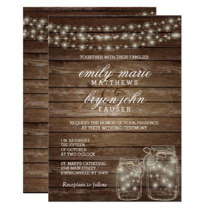 Star Light Mason Jar on Rustic Wood Wedding Card - wedding - invitation unveiling
