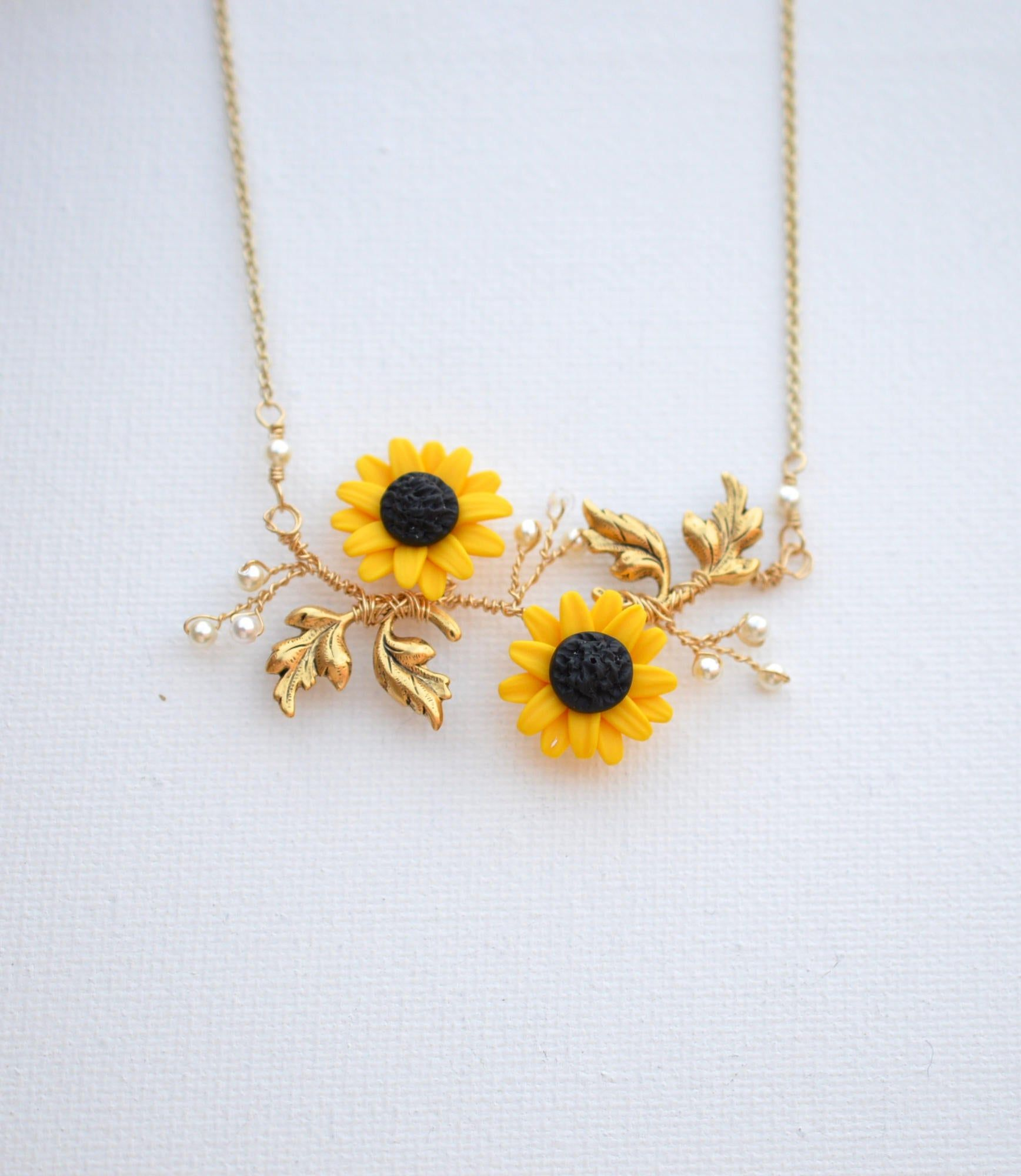 Yellow Sunflower and Leaves Vine necklace. Double