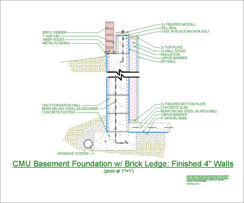 Cad Detail Cmu Basement Finished 4 Walls Jpg 800 215 667