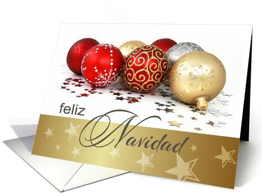 Feliz navidad spanish christmas card with christmas ornaments card spanish christmas card with christmas ornaments card m4hsunfo
