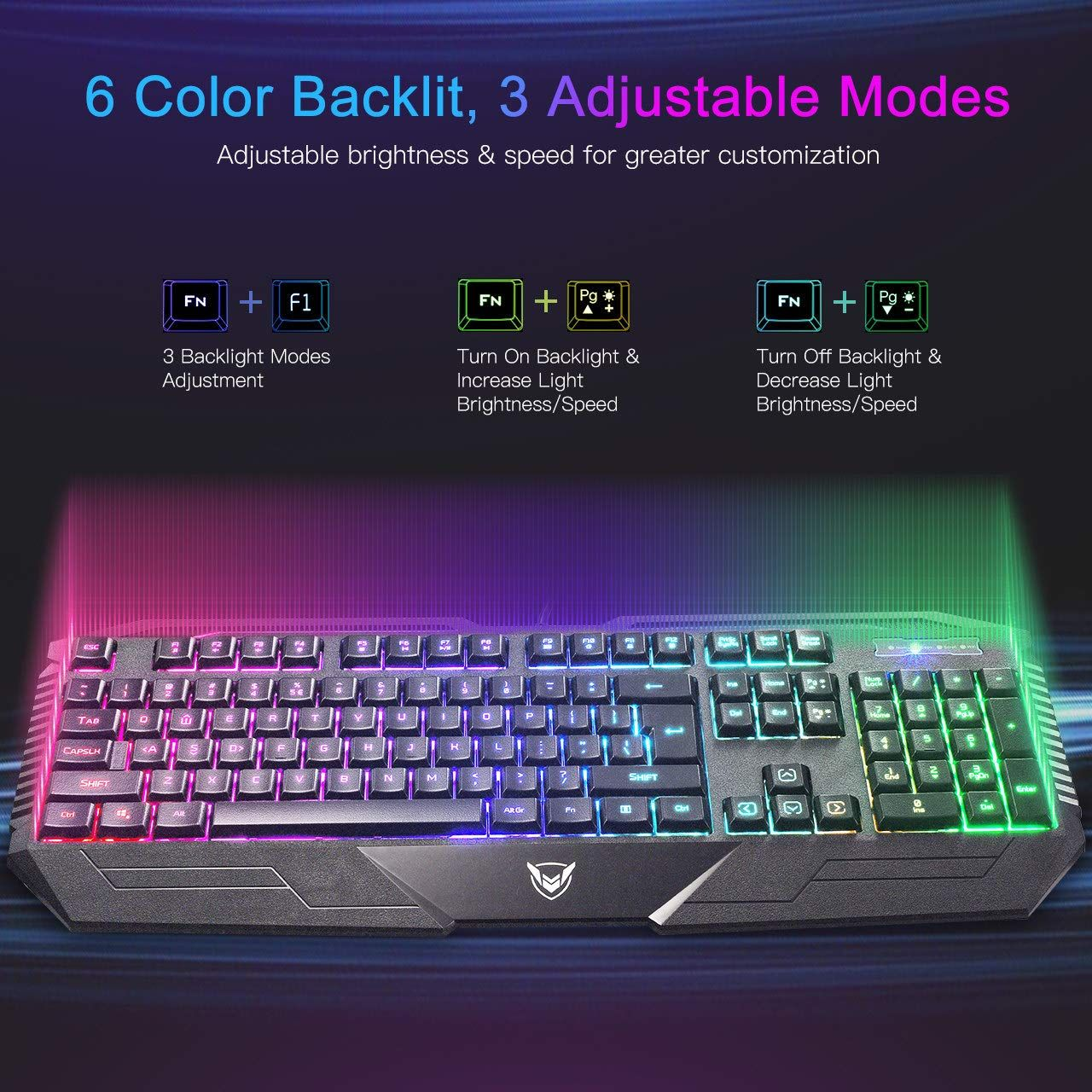 Gaming Keyboard, PICTEK Rainbow LED Backlit Keyboard