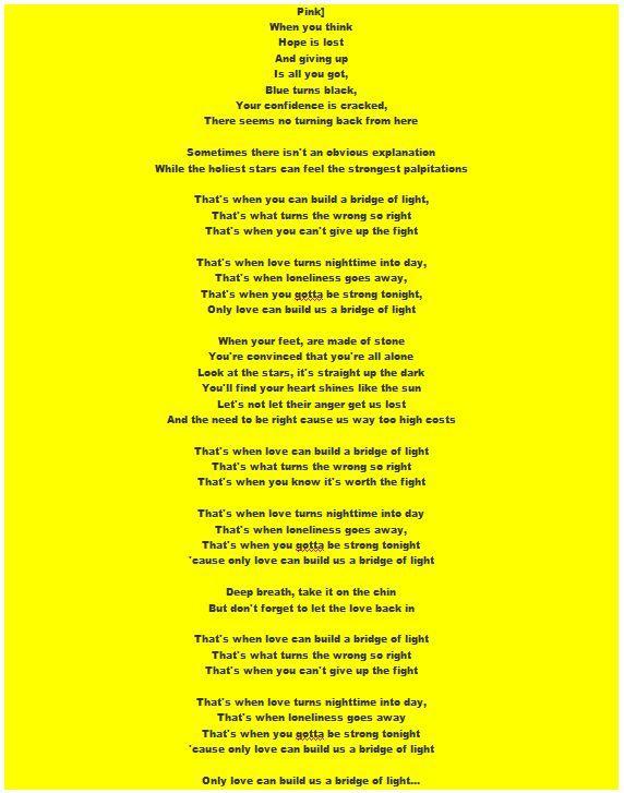 Yes Pink I Said Pink Read Her Bridge Of Light Lyrics Heavenly Lyrics Meaning Lyrics Words