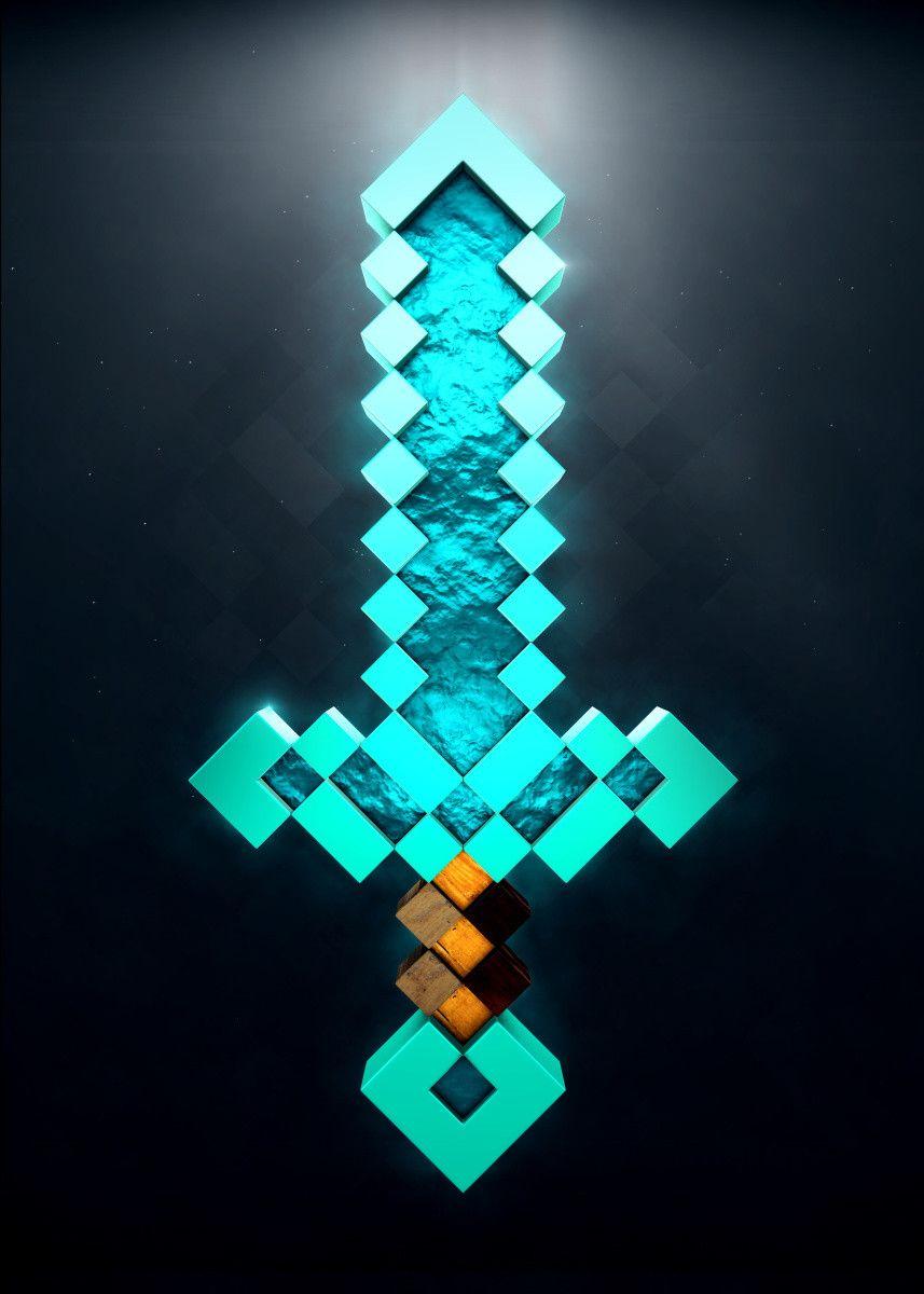 Diamond Sword 3d Gaming Poster Print Metal Posters Displate Minecraft Diamond Sword Minecraft Wallpaper Minecraft Drawings