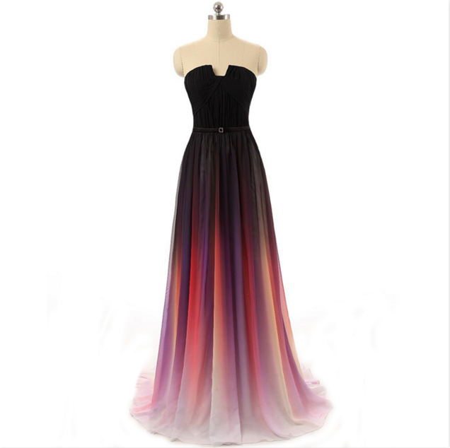 Gradient Strapless Prom Dress Ombre Maxi Long Chiffon Formal Party Gown