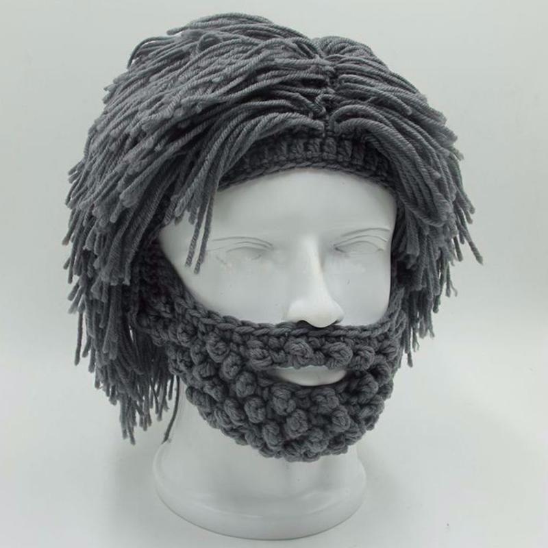 2a4a825f2aa NaroFace Handmade Knitted Men Winter Crochet Mustache Hat Beard Beanies Face  Tassel Bicycle Mask Ski Warm