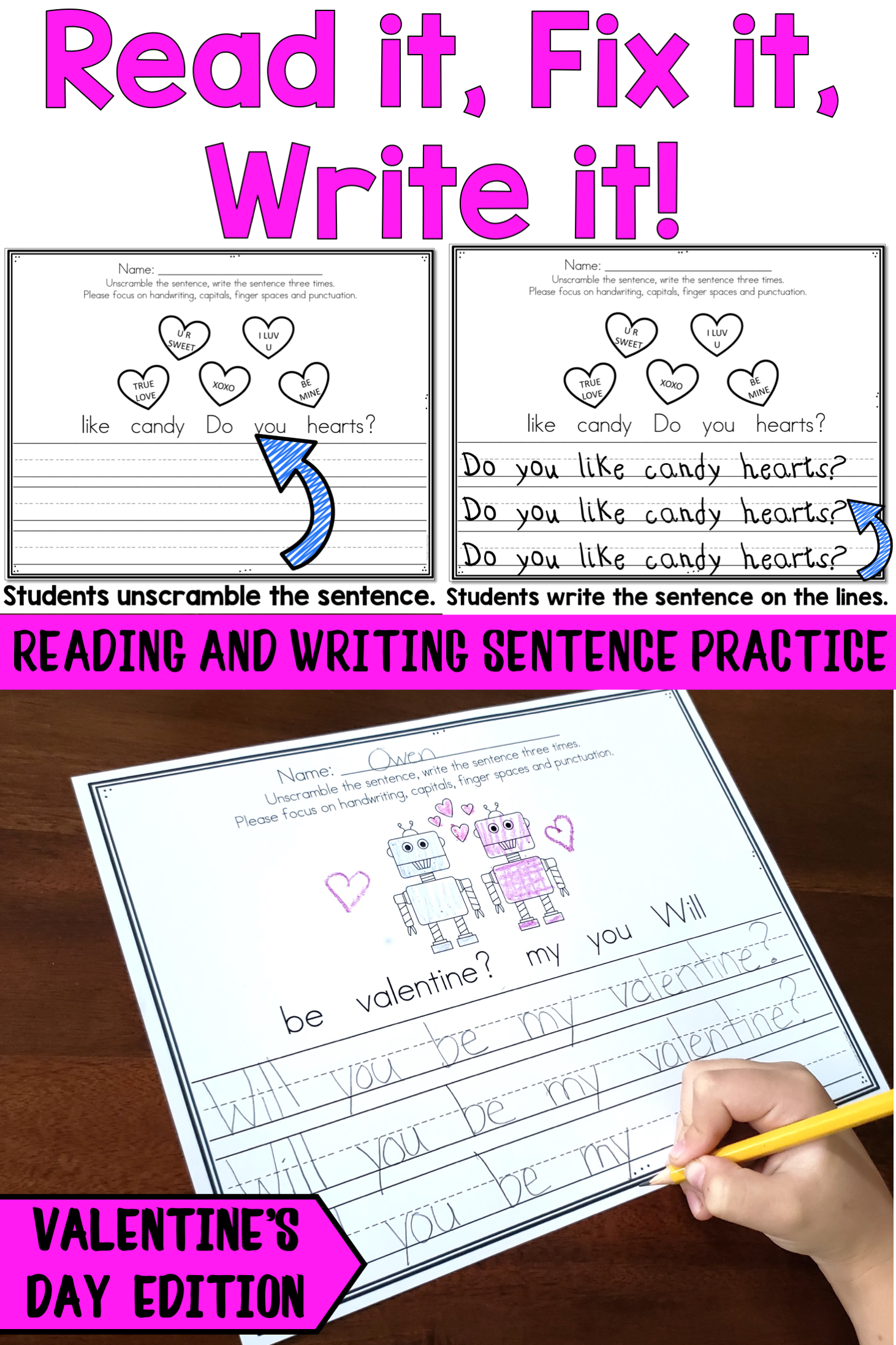 Valentine S Day Sentence Writing Practice