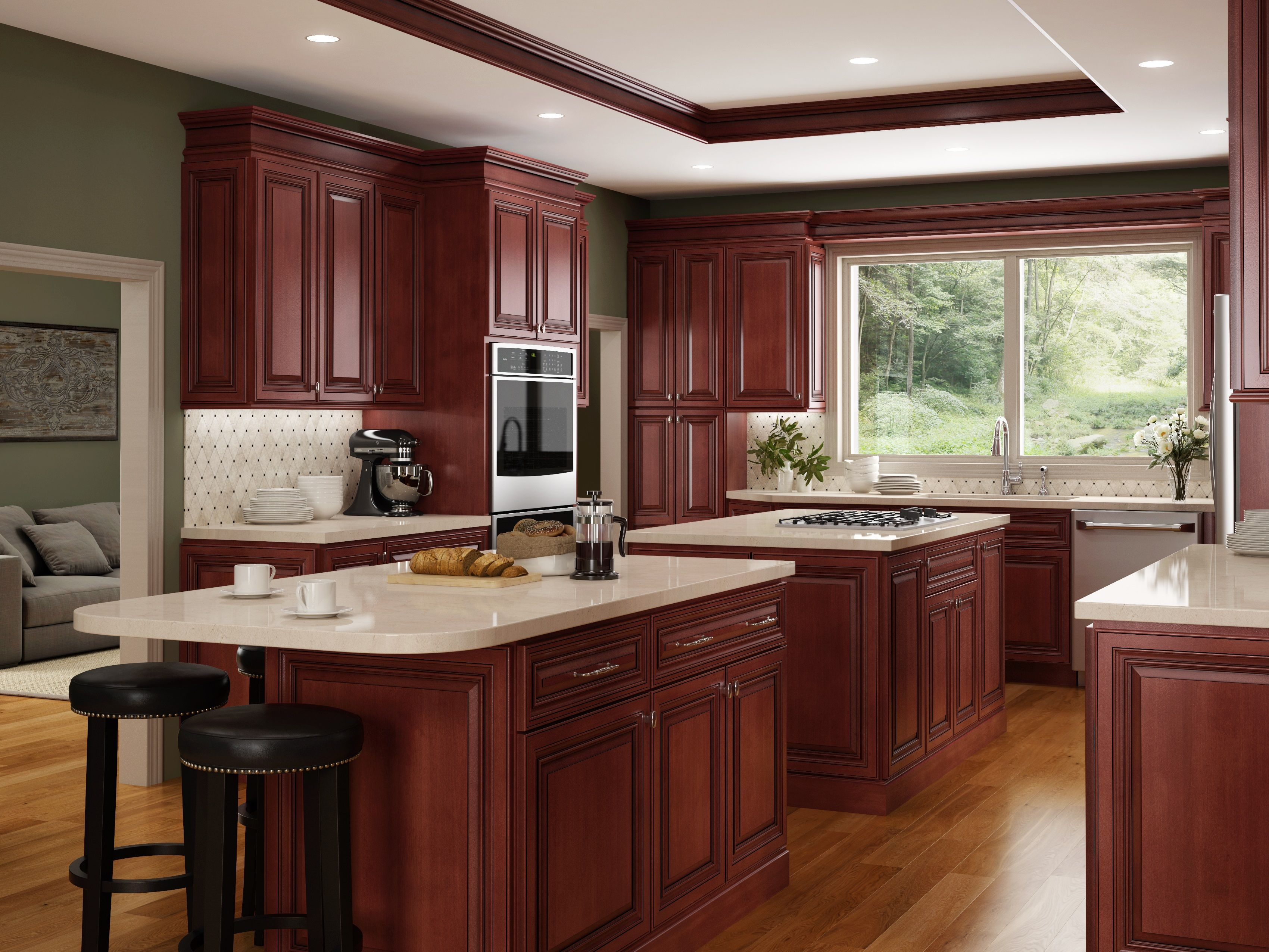 Jsi Georgetown Upscale And Stately Georgetown Delivers Gleaming Richness To Your Kitchen Solid Wood Kitchen Cabinets Kitchen Design Glazed Kitchen Cabinets