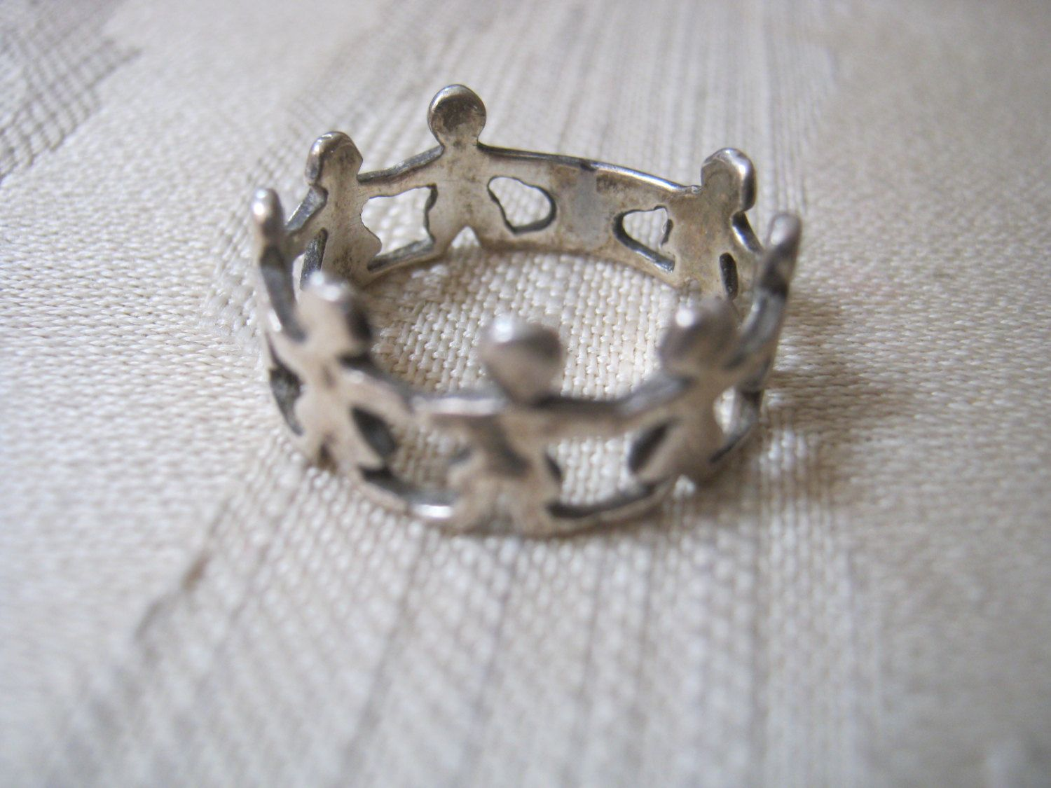Vintage children holding hands sterling silver ring, children in ...
