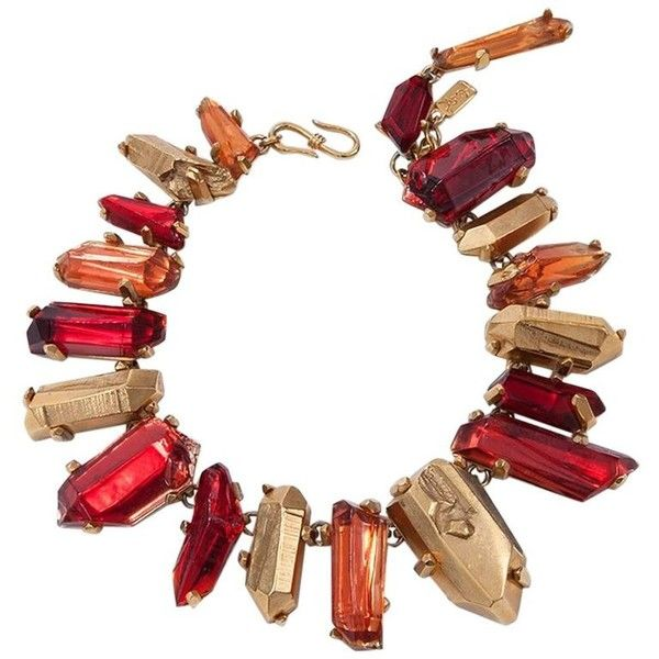 Preowned Yves Saint Laurent Gold And Red Quartz Collar Necklace