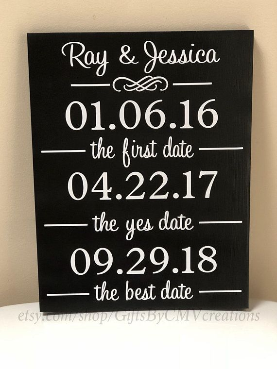 Custom Personalized LARGE 12x14 WOOD SIGN The First Date The Yes Date The Best Date Engagement