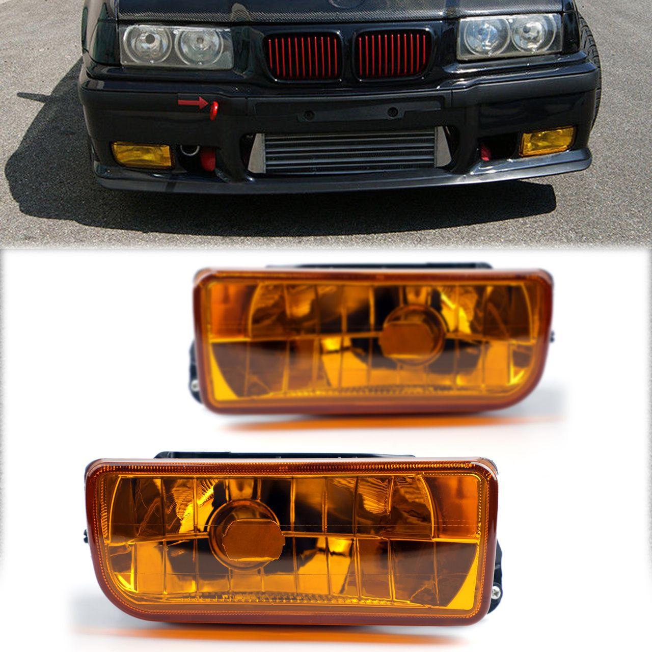 Black Car BUMPER GRILLE FOG LIGHT FOR VW JETTA BORA 99-04 Yellow Lens