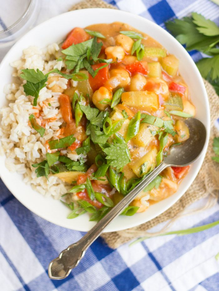 Tender summer veggies and chickpeas are simmed up in a Cajun spiced sauce to create this hearty and flavorful vegan étouffée.