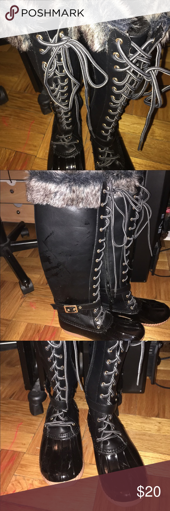New never used lace  fur long boots Black lace  fur boots Never used . Shoes Winter & Rain Boots