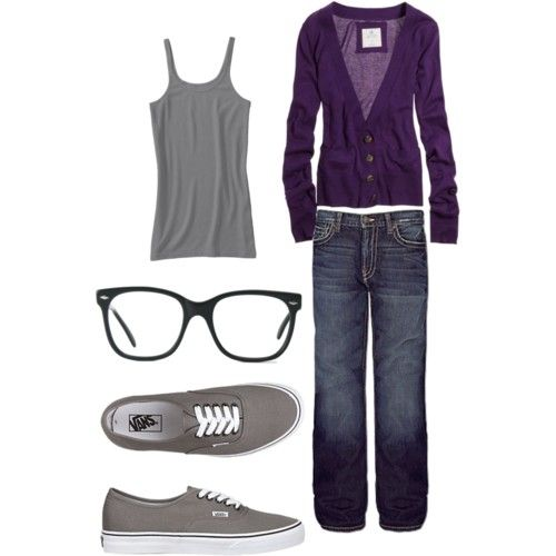 Love the Plum and Grey...with the fake glasses...