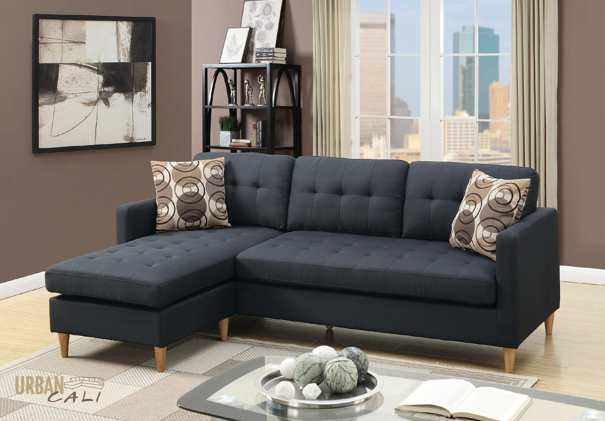 Amazing Laguna Small Sectional Sofa With Reversible Chaise In Black Short Links Chair Design For Home Short Linksinfo