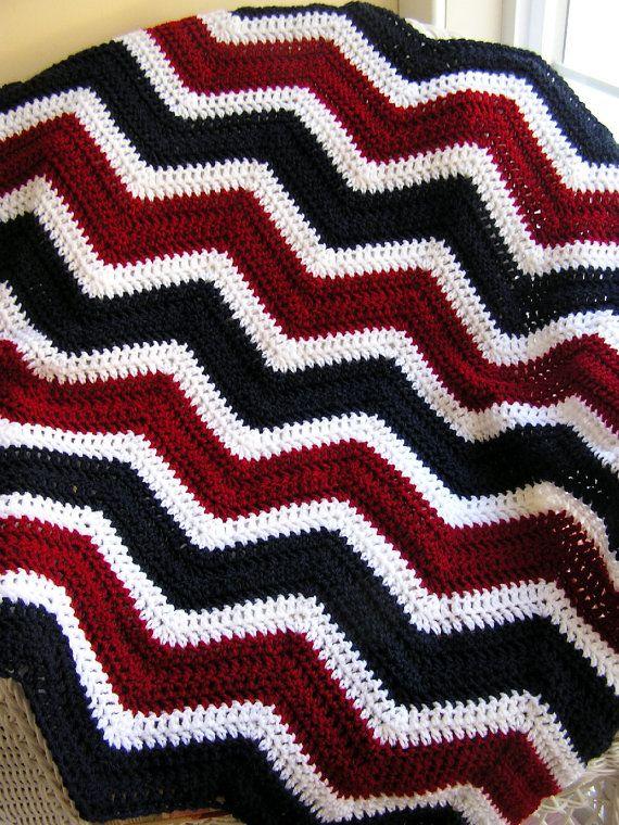 new chevron zig zag patriotic baby blanket afghan wrap crochet knit ...