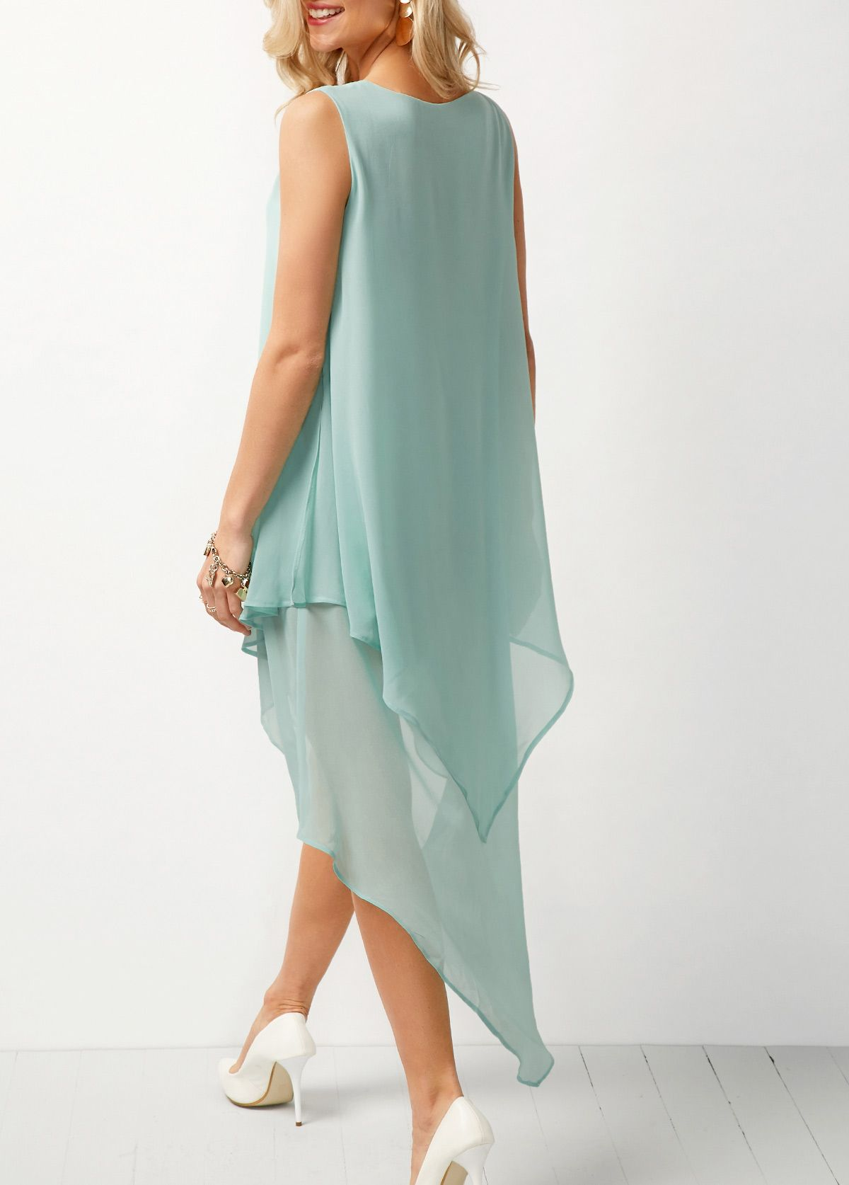 e10ef826b543 Sleeveless Asymmetric Hem Chiffon Overlay Tunic Dress #Hem, #Asymmetric,  #Sleeveless