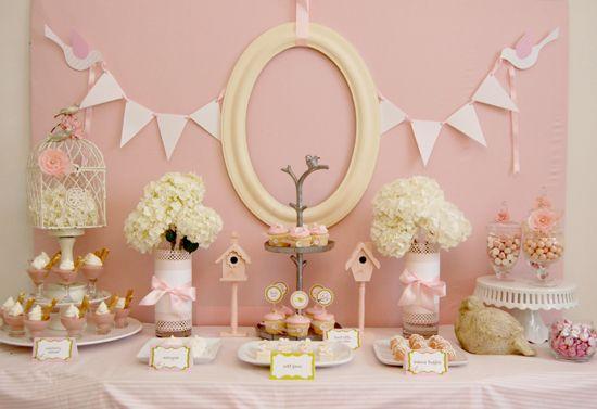 pink bird baby shower
