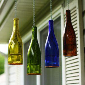 Four Hanging Wine Bottle Lanterns  - Outdoor Decor - Hanging Candle Holder - Gift for Mom - Outdoor Lighting - Hanging Votive Candles