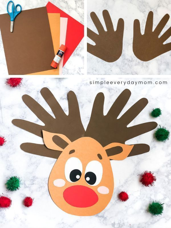This handprint reindeer is a fun DIY Christmas craft for kids to make. It's easy enough for toddlers, preschool and kindergarten children to make and it comes with a free printable template. Make it at home, at school or at church!   #simpleeverydaymom #reindeercrafts #christmascrafts #christmascraftsforkids #christmas #toddlers #preschool #kindergarten #easycrafts #schoolcrafts #kidsdiy #classroom