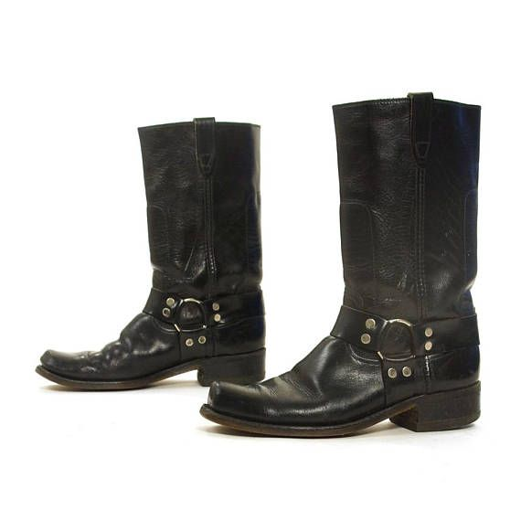 cb7bbf890b1d 70s Motorcycle Boots with Ankle Harness   Distressed Black