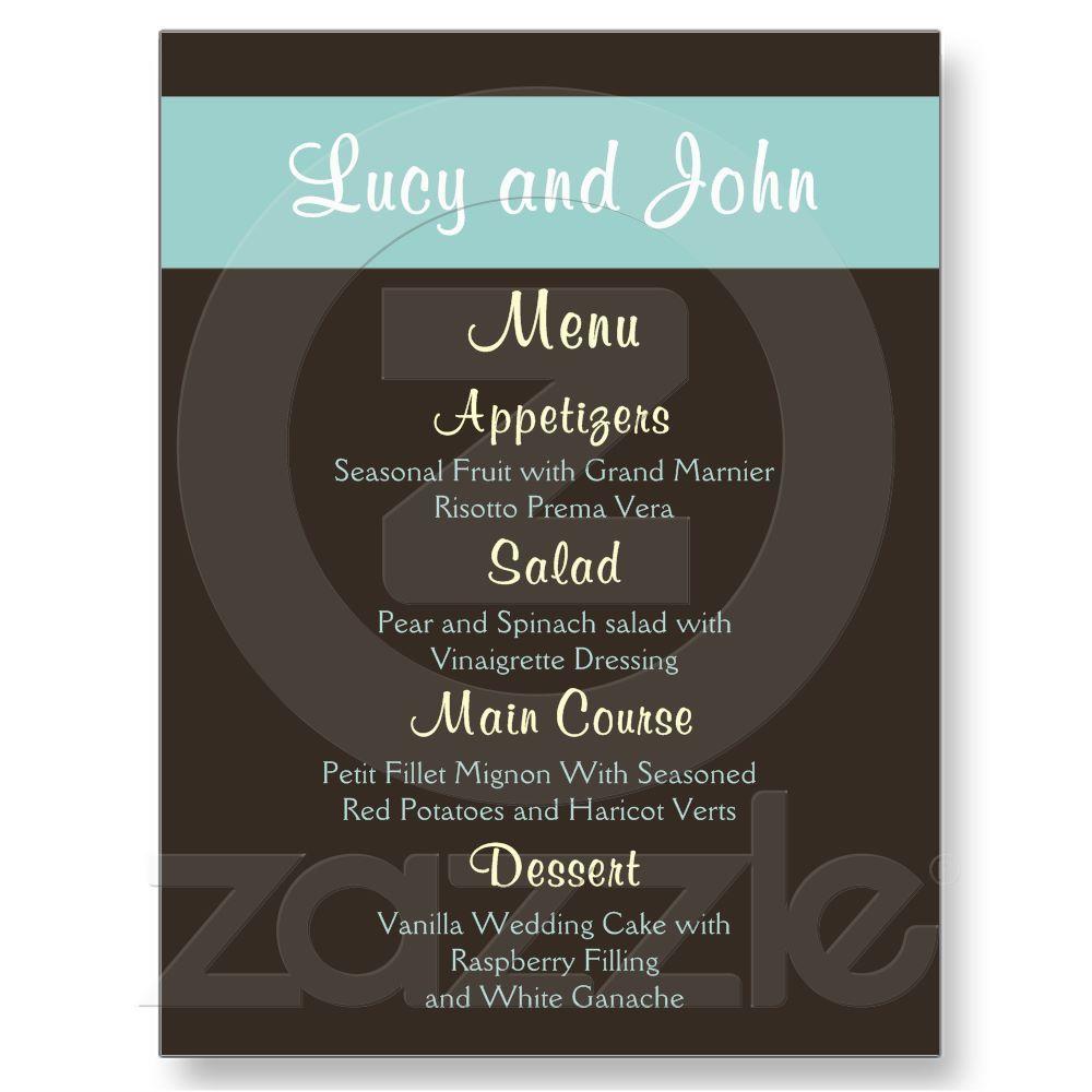 Chocolate Wedding Menu Cards Post Card From Zazzle Com Wedding