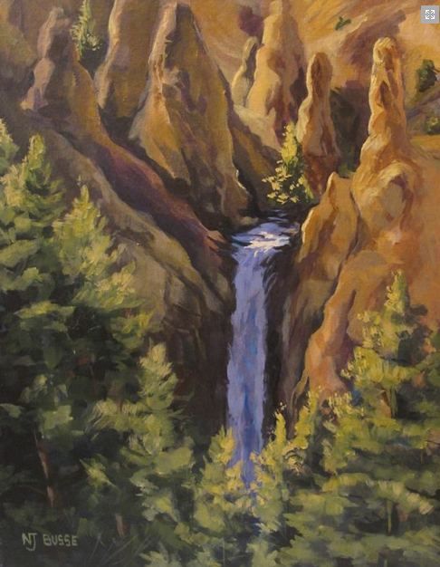 "Contemporary Artists of Colorado: Original Yellowstone Landscape Painting ""Tower Falls at Yellowstone"" by Colorado Artist Nancee Jean Busse, Painter of the American West"