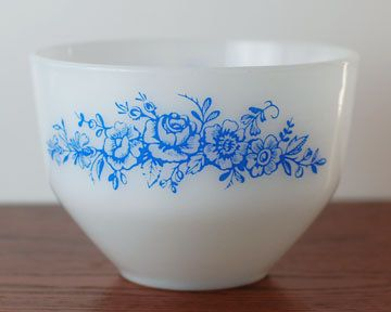 Blue Roses Milk White Mixing Bowl by Federal by AbbijoCollections, $14.00