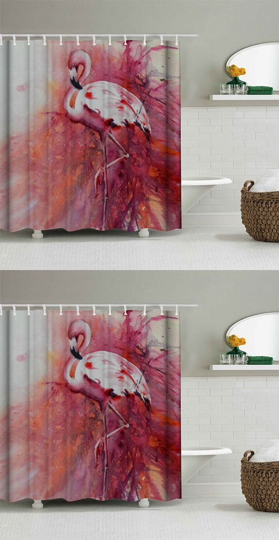 Flamingo Waterproof Shower Curtain With Hooks Decorations For Homedecoration