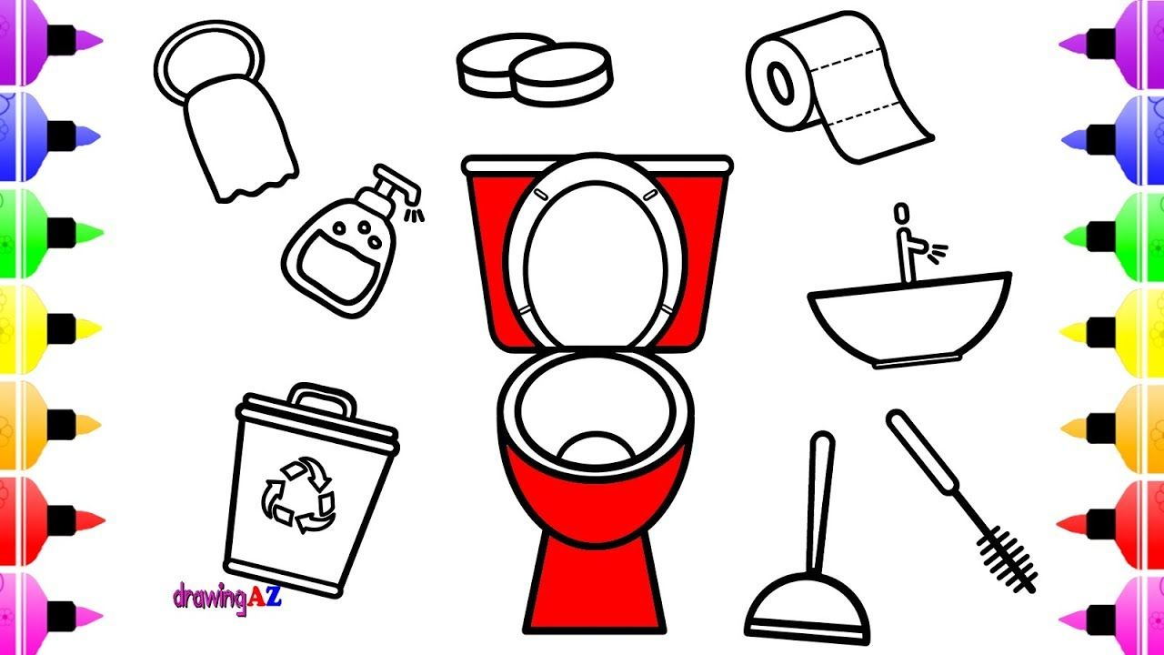 Toilet Tools Coloring Book For Kids Coloring Pages With Colored